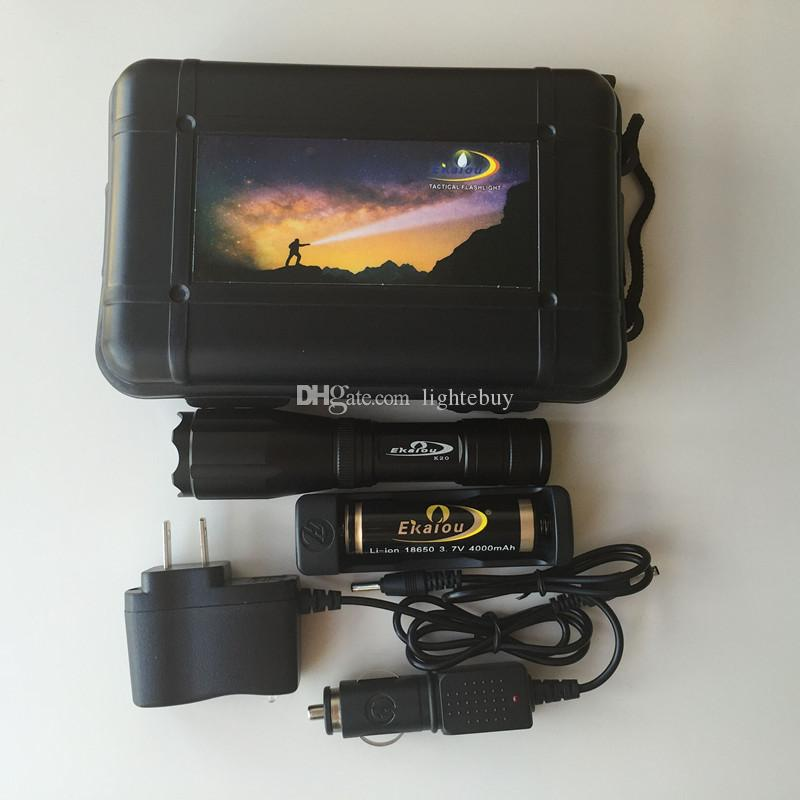 Ekaiou K20 XML T6 3800LM LED ficklampa Torches Zoomable Tactical Flashlight Torch Light med 18650 Batteriladdare Presentförpackningar Set