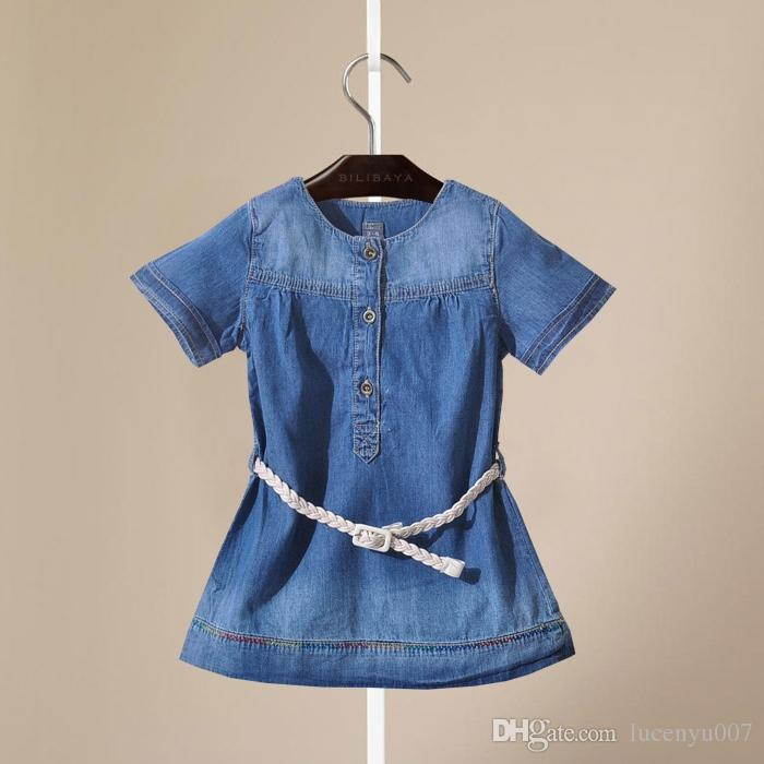 d42c45f645dd 2019 2 6Y Girls Soft Denim Dress Girls Short Sleeve Dress With ...