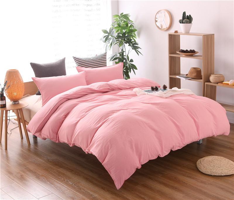 Solid Color Bedding Set Pink Grey Duvet Cover Set Doona