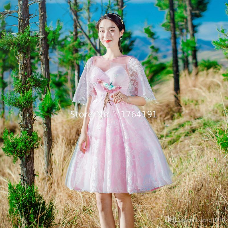 Hot Sale 2017 Pink Mesh O-Neck Short Sleeve Lace Embroidery Knee-Length Holiday Beach Long Dresses For Women