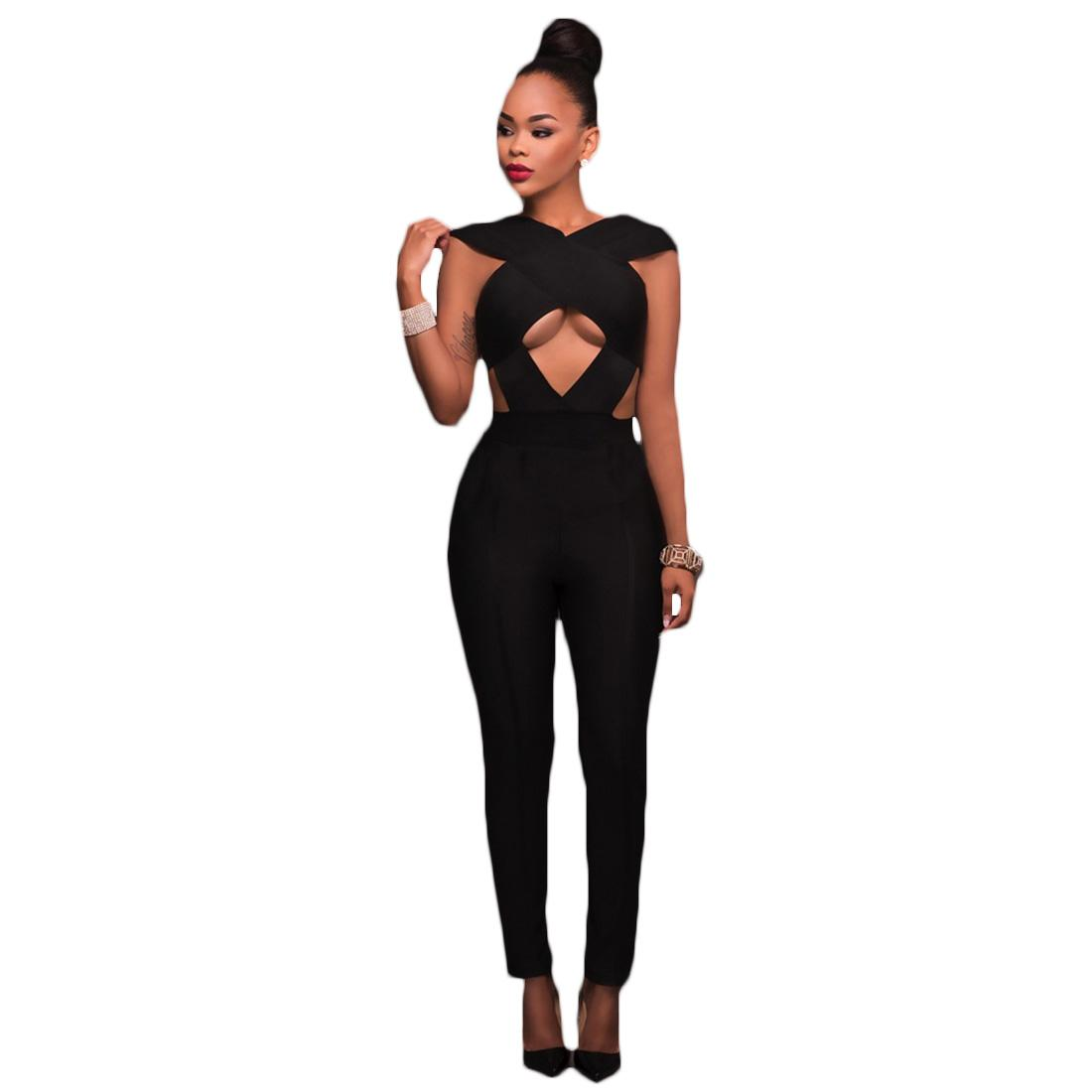 de0845661163 2019 Wholesale Hollow Out Bandage Black Rompers Womens Jumpsuits 2017  Sleeveless Backless Stretchy Party Bodysuits Zipper Up Slim Long Pants From  Yukime