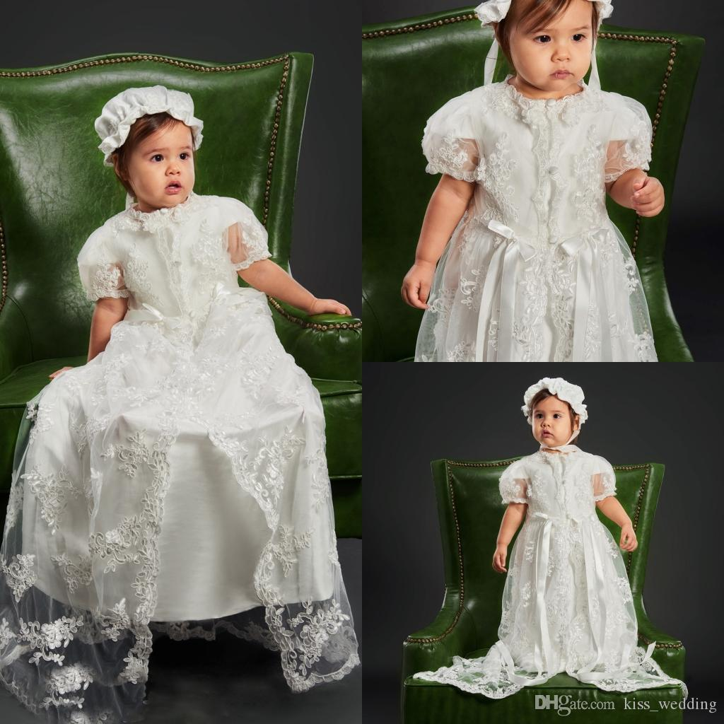 2018 New Two Pieces Long Christening Dresses For Baby Girls Lace ...