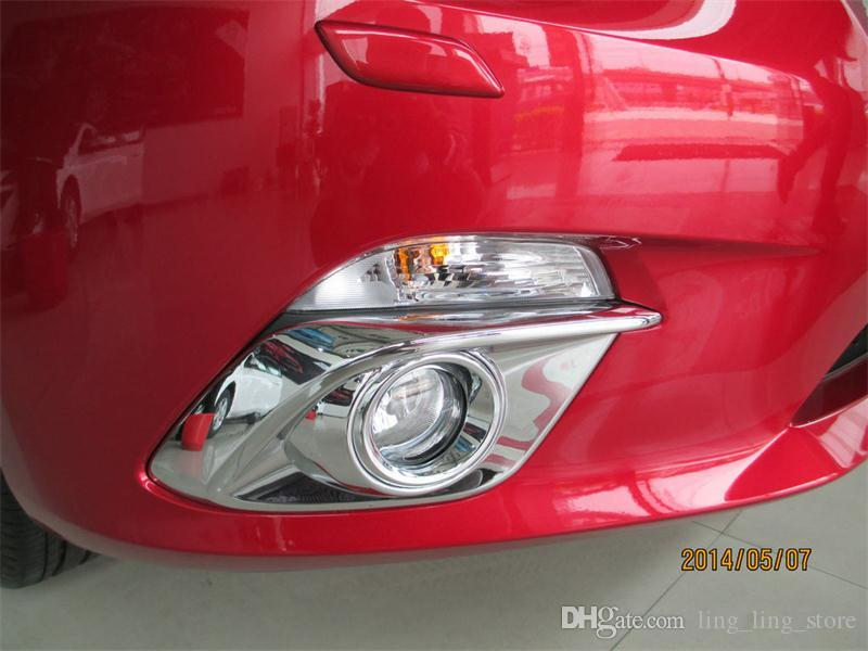 Chrome Front Fog Lamp Cover Trim Strips For MAZDA 3 AXELA 2013 2014 Fog Light Hoods /pair Fog Lamp Shade Car Styling