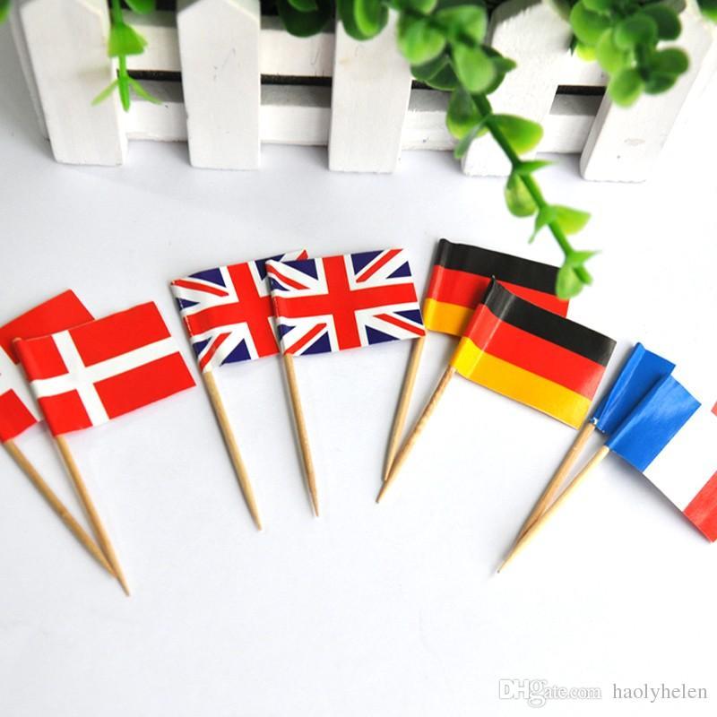 5000 Peças Escolhas Da Bandeira 6.5 cm, 25 Países para Escolher Palitos De Bandeira De Madeira Partido Descartável Varas EUA, AU, CA, frete Grátis