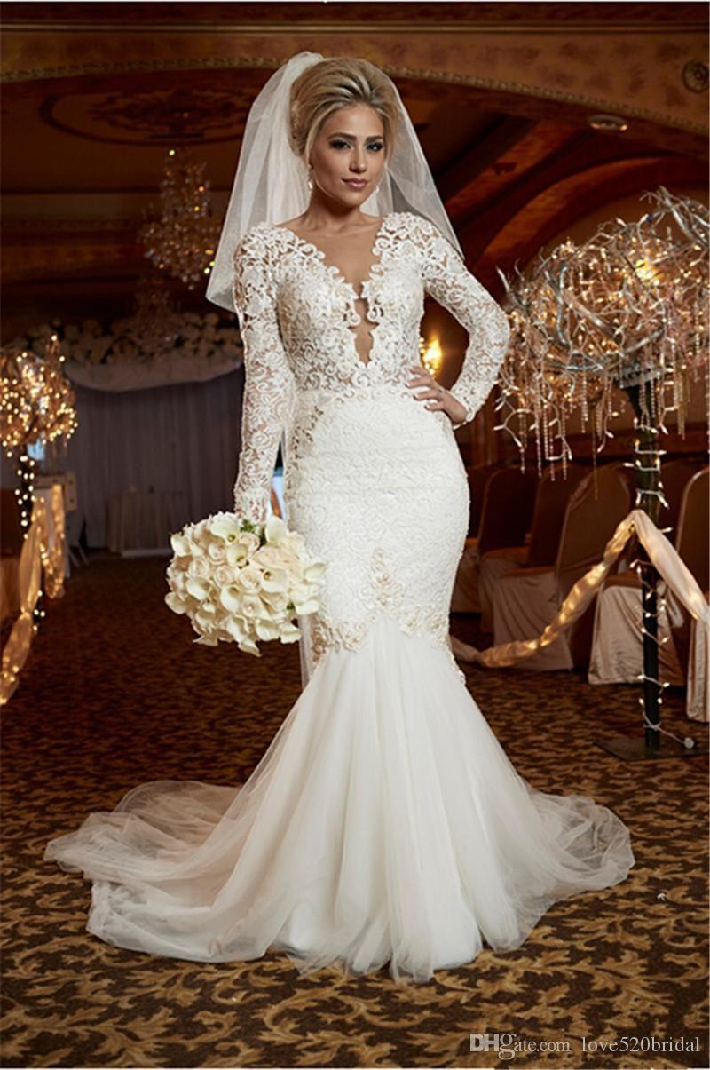 Wedding Dresses Mermaid Lace 2017 Luxury Pearls Trumpet Wedding Gowns Garden Bridal Gown Long