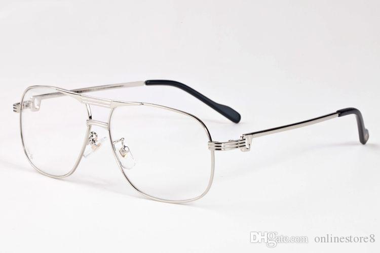 الفاخرة كامل حافة الرجال النظارات عادي مرآة النظارات سبيكة معدنية ذهبية فضية الإطار الأزياء خمر بافالو القرن النظارات مع مربع