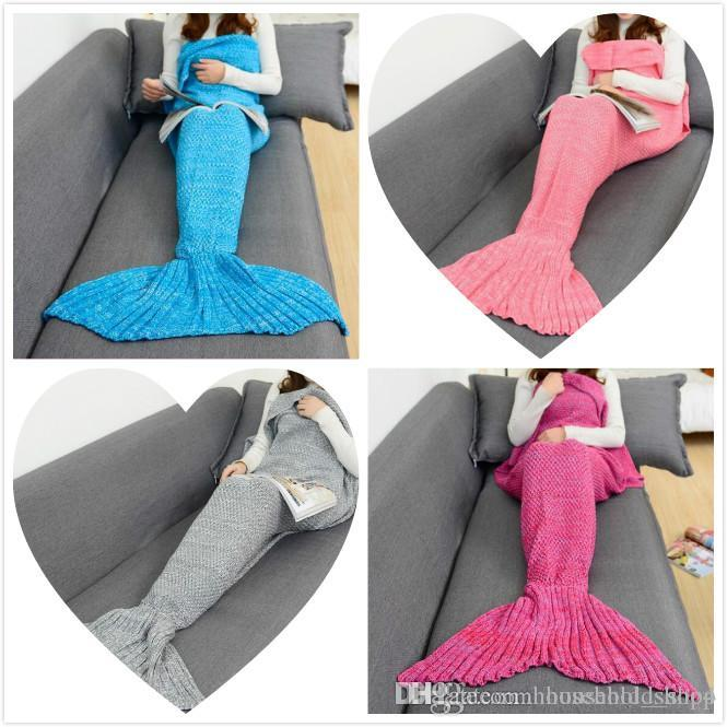 2018 Mermaid Blanket Sleeping Bag Adult Knitted Mermaid Sleeping Sack Tail  Blankets For Home Office 180 90cm Air Conditioner Quilt Hot Sale Christmas  Throws ... ab880f1f0