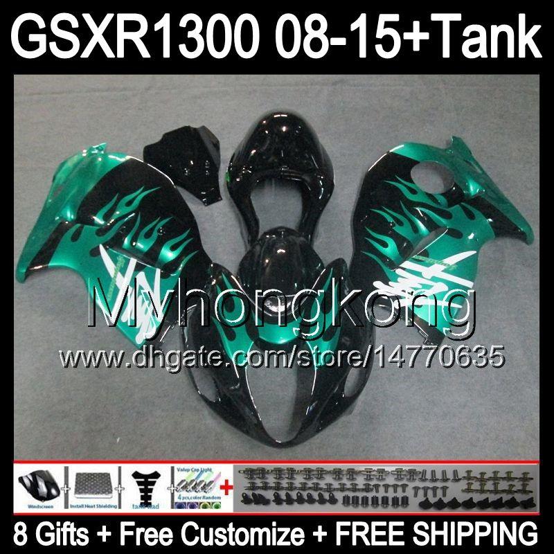8gifts For SUZUKI Hayabusa GSXR1300 2008 2009 2010 2011 cyan flames 14MY161 GSXR-1300 GSX R1300 GSXR 1300 2012 2013 2014 2015 black Fairing