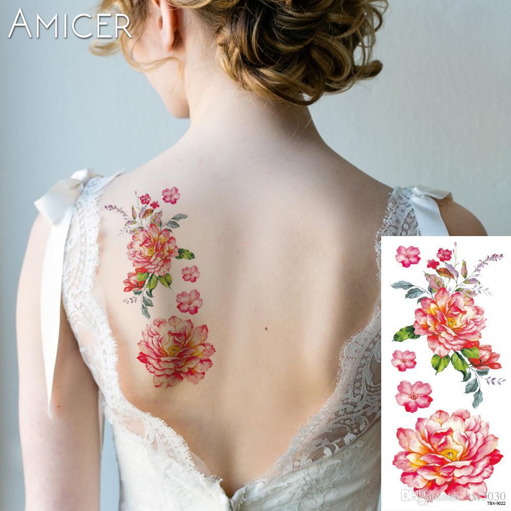 3D lifelike flores de cerejeira rosa grandes flores sexo tatuagens temporárias À Prova D 'Água mulheres flash tatuagem braço ombro tatuagem adesivos