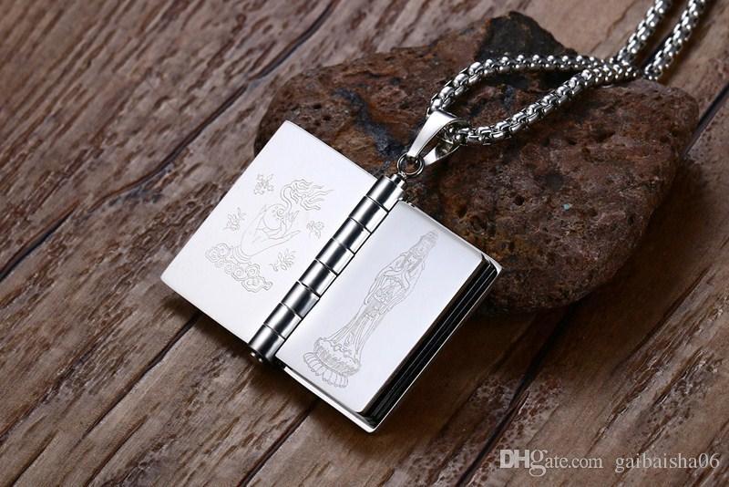 Hommes Colliers Bijoux En acier inoxydable Indian Bouddhist Écriture manuels Forme Pendentif Collier peut transformer des pages PN-719S