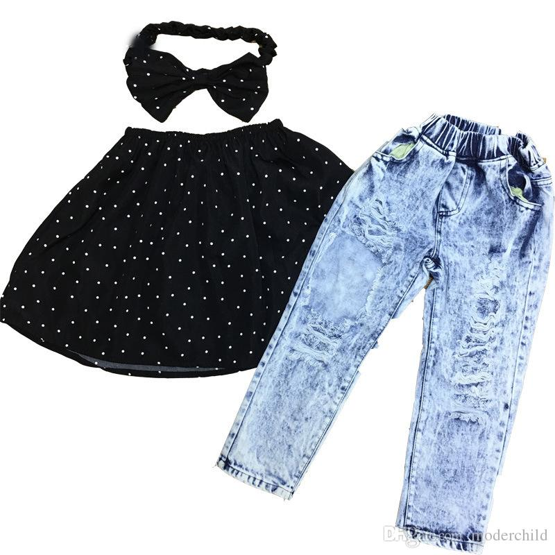 european style children clothing sets baby girl boat neck polka dot tops with matching broken hole jeans pants sets