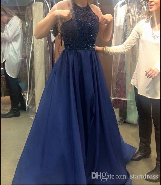 Uroczy niebieski Linia Zroszony Suknie Wieczorowe Jewel Długość Piętro Długie Formalne Prom Dresses Sexy Satin Design Suknie Wieczorowe 2016 Suknia wieczorowa