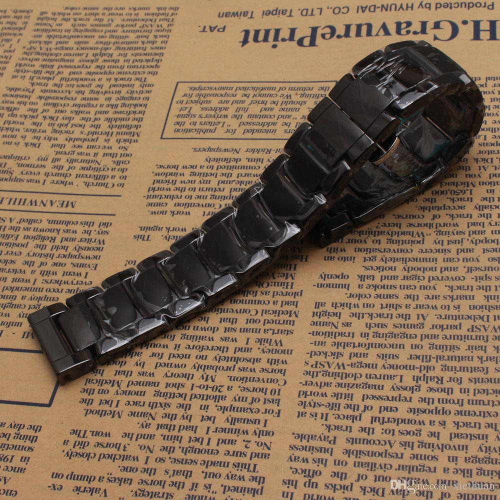 Beautiful Polished Watchband Black White Ceramic Watches men accessories for wrist Watch hours 22mm fashion bracelet replacement new straps