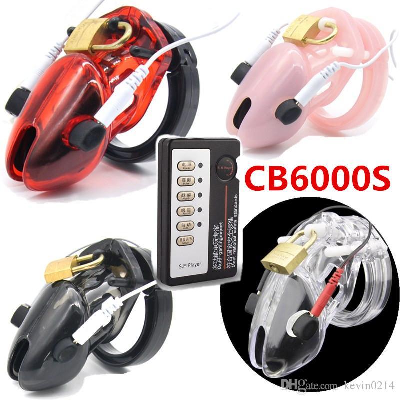 Choque eléctrico Terapia Médica Chastity Jaula Dispositivos CB6000 CB6000s Cock Cage Pene Anillo de Bloqueo Juguetes para el Hombre G153