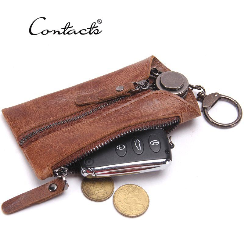 CONTACT S Vintage Genuine Leather Key Wallet Women Keychain Covers Zipper  Key Case Bag Men Key Holder Housekeeper Keys Organizer Designer Wallets For  Women ... 093657aff9