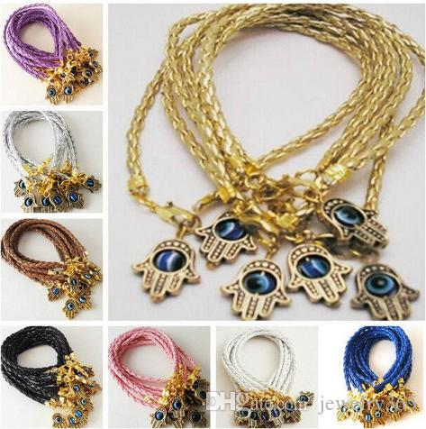 new Mixed HAMSA HAND Evil Eye Leather cord String Bracelets Lucky Charms Pendant Gift 20cm