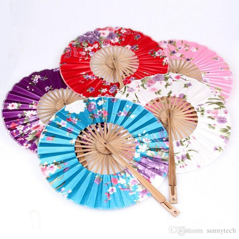 Japanese Style Windmill Bamboo Silk Round Fan Japanese Hand Fan Flower Held Fans Hanging Decorative Holiday Wedding Shower Favor ZA2849