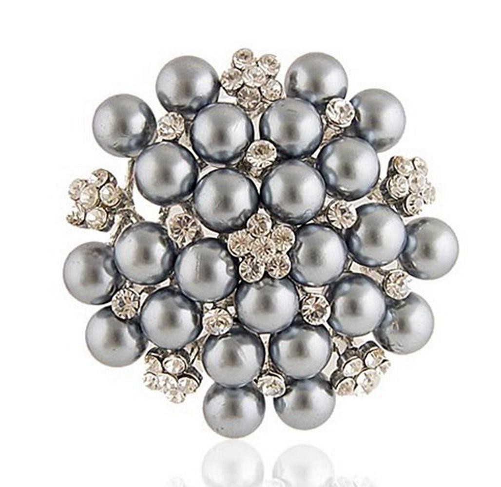 Monili della spilla nuziale del fiore della neve della perla di Faux della perla del cristallo di rocca placcato dell'argento di 2.2 pollici bianchi chiari