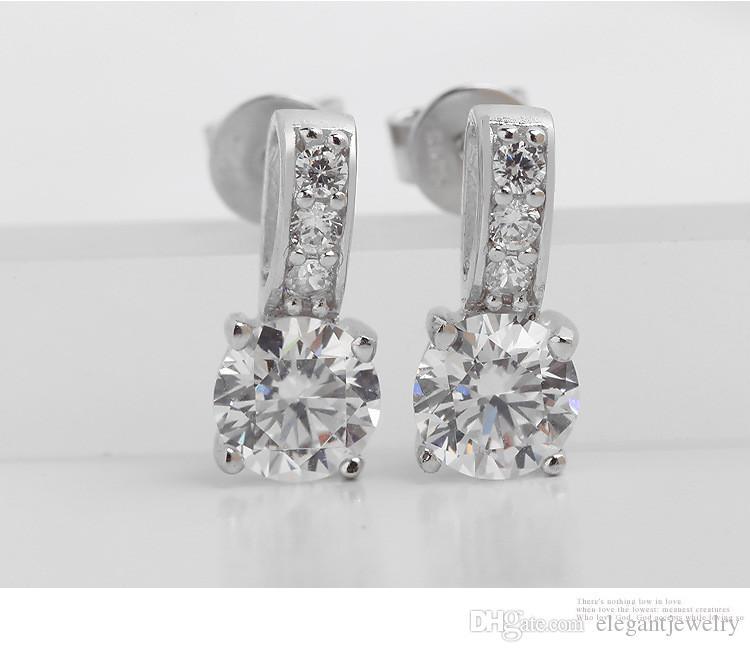 925 Sterling Silver Stud boucles d'oreilles pour les femmes bijoux Fasihon boucles d'oreilles CZ Diamond boucles d'oreilles style neutre N44