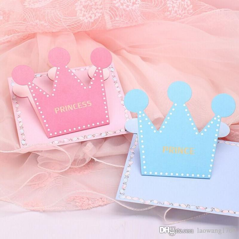 Prince And Princess Crown Shape Folded Greeting Card Envelope