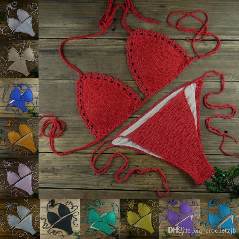 Handgemachte Damenbekleidung Beach Bademode Beige Sexy Crochet Bikini Set - Baumwolle Futter Badehose 13 Farbe