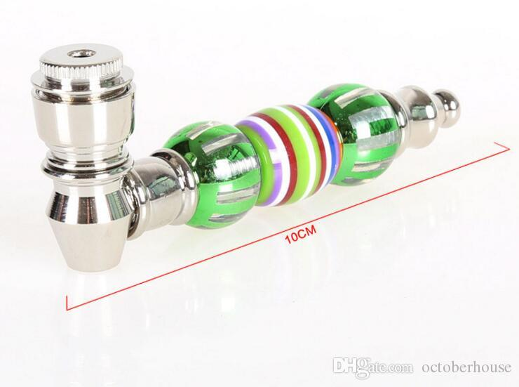 Tobacco Herbal Ceramic Metal Smoking Metal Pipes With Cover Marbles Shaped 10cm length Smoking Tool Accessories Filter For Oil Rigs