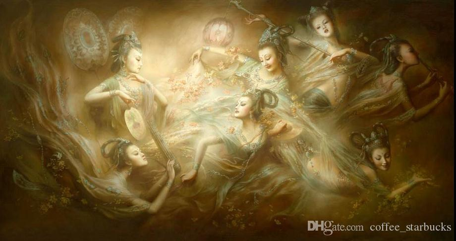 Dunhuang Frescoes Flying Legendary Seven Fairies ,Large Handpainted ...