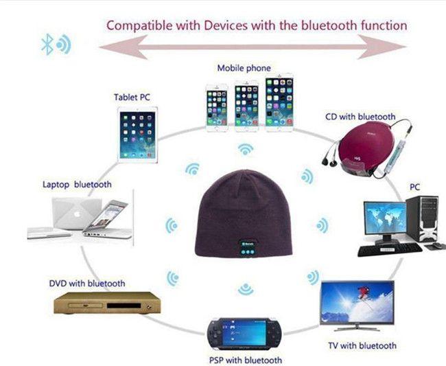 A Hombres Calientes Mujeres Suave Sombreros de Invierno Beanie Wireless Bluetooth Smart Cap Auricular Auricular Altavoz Mic Sombrero de Punto Gorra Más Color