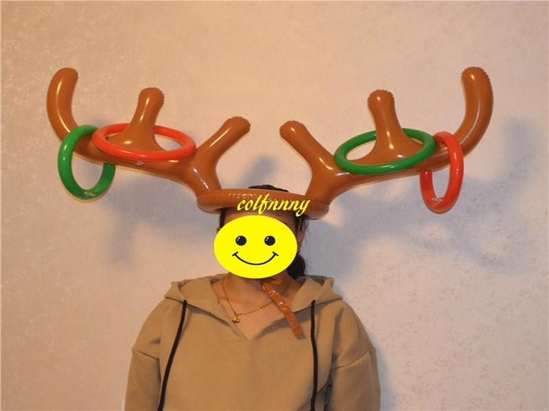 50 pz / lotto vendita calda bambini bambini natale gonfiabile santa divertente renna cappello corno anello lanciare festa di natale forniture giocattoli