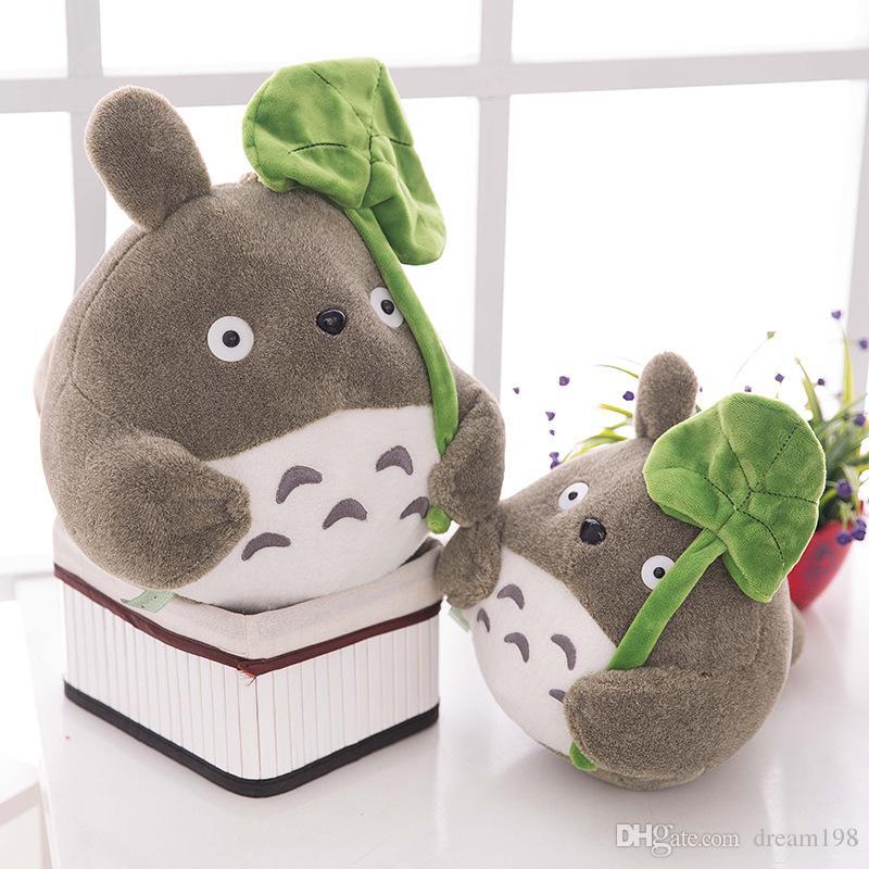 Meu vizinho totoro brinquedo de pelúcia bonito macio boneca totoro com folha de lótus crianças brinquedos Gato Tamanho: 8