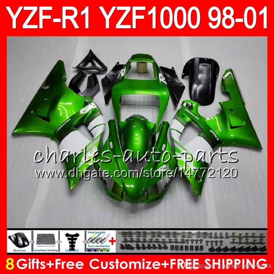 8GIFT Ciało dla Yamaha YZF1000 YZFR1 98 99 00 01 YZF-R1000 Zielony Czarny 61HM10 YZF 1000 R 1 YZF-R1 YZF R1 1998 1999 2000 2001 Owalnia