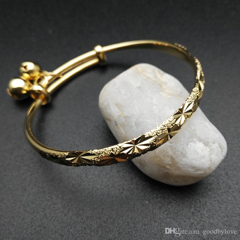 Симпатичные 18k желтое золото покрытием Снежинка тиснение регулируемые браслеты браслеты с колокольчиками прелести для ребенка Малыш дети девушки ювелирные изделия