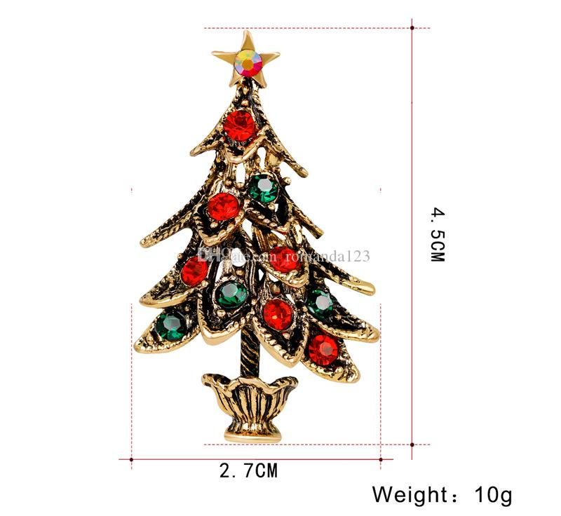 Brand New Christmas Broche Creative Alliage Strass De Noël Arbre Broches Antique Or et Sliver Plaqué DHL Livraison Gratuite