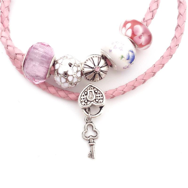 Atacado e varejo mulheres charme pulseiras e pulseiras diy rosa esmalte pulseiras de corda de couro para as mulheres
