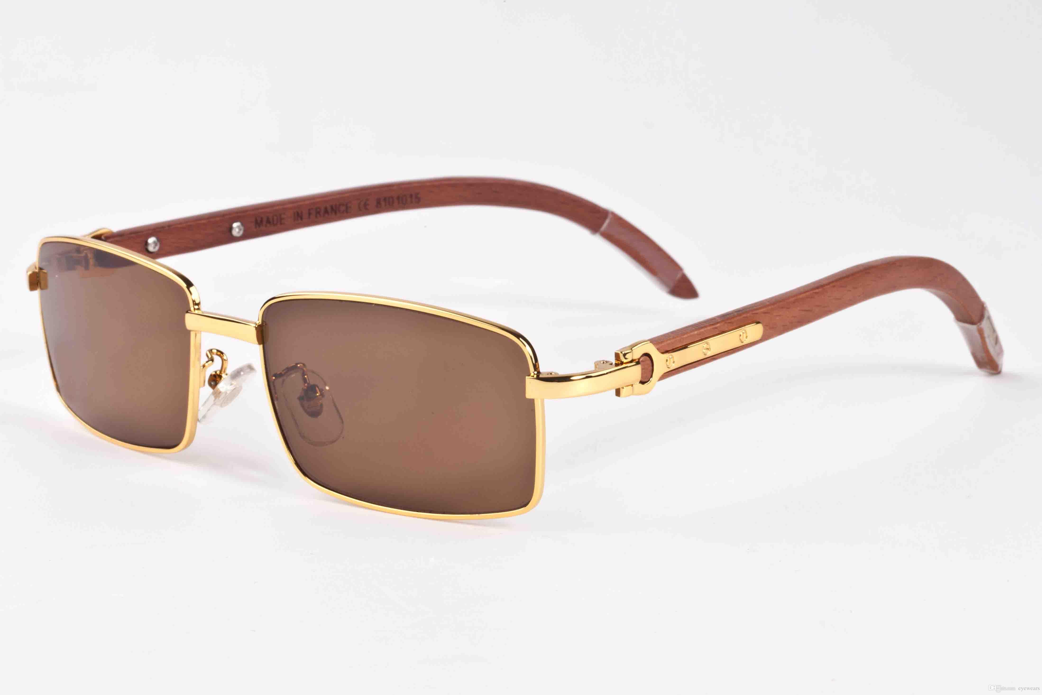 2018 full frame brand sunglasses for men wood frame buffalo horn glasses women cheap gold metal wood designer sunglasses with box case brand sunglasses - Wood Framed Sunglasses
