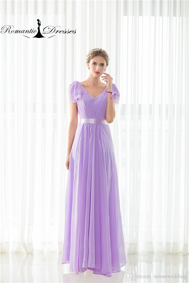 Chiffon Purple Bridesmaid Dresses A Line Short Sleeve Formal Dresses ...