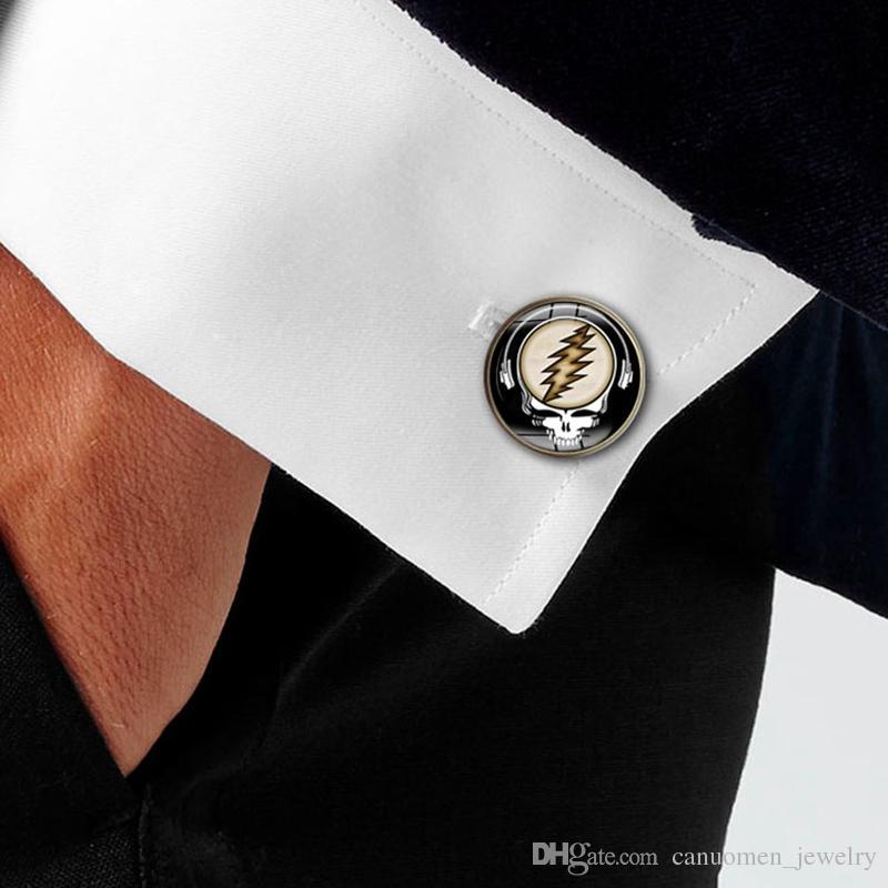 Kol Düğmeleri Erkekler Fransız Minnettar Ölü Cam Cabochon Müzikal manşet bağlantı Bakır malzeme Erkekler Charm Takı Hediye Toptan