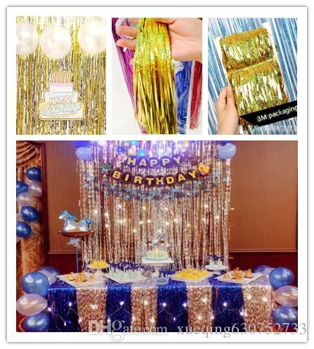 Gold Silver 1m 4m Wedding Decoration New Photo Booth Prop Diy Background Party Birthday Christmas Laser Rain Curtain Soccer
