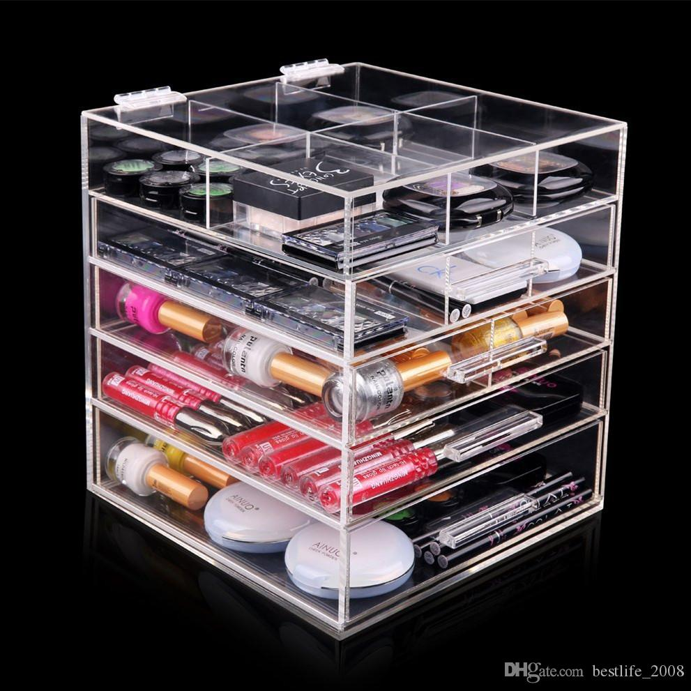 High Quality Clear Acrylic 5 Tier Makeup Organizer With 4 Drawers And Lid Divides L 250x D 262x H 280mm