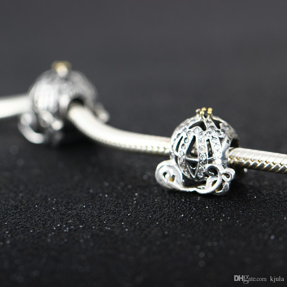 Diy Fit Pandora Pulseira Authentic 925 Cinderela De Prata Esterlina Charme Da Abóbora Charme Talão Com CZ Claro Para Fazer Jóias