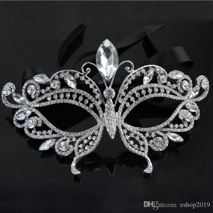 2017 Silver Tone Venetian Bridal Masquerade Rhinestone Crystal Eye Mask Halloween Fancy Dress Ball Party Mask