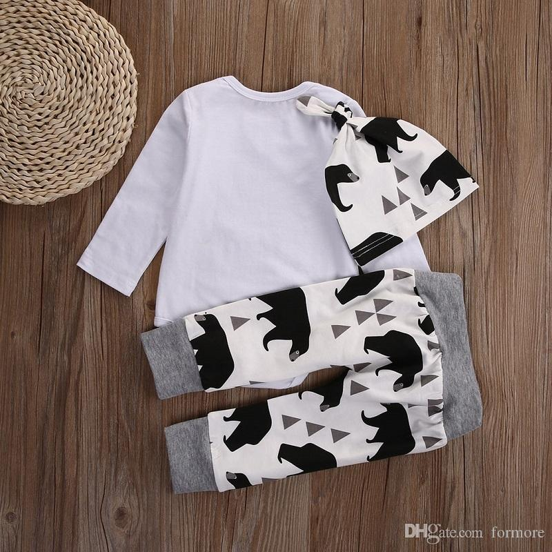 baby little boy clothes toddler romper set bear printed infant white outfit suit clothing long sleeve harem pants hats famous brand