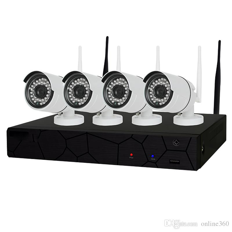 Großhandel 4CH CCTV System Wireless 1080 P NVR 4 STÜCKE 2.0MP IR P2P Wifi IP CCTV Überwachungskamera System Surveillance Kit