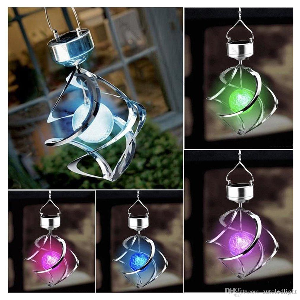 Solar Power Floodlights Wind Spinner LED Outdoor Garden Courtyard Hanging Chime Lamp Lawn Moving Rotating Campanula Light