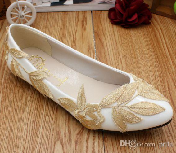 Grosshandel Weisse Wohnungen Hochzeit Schuhe Mit Sexy Gold Verlasst