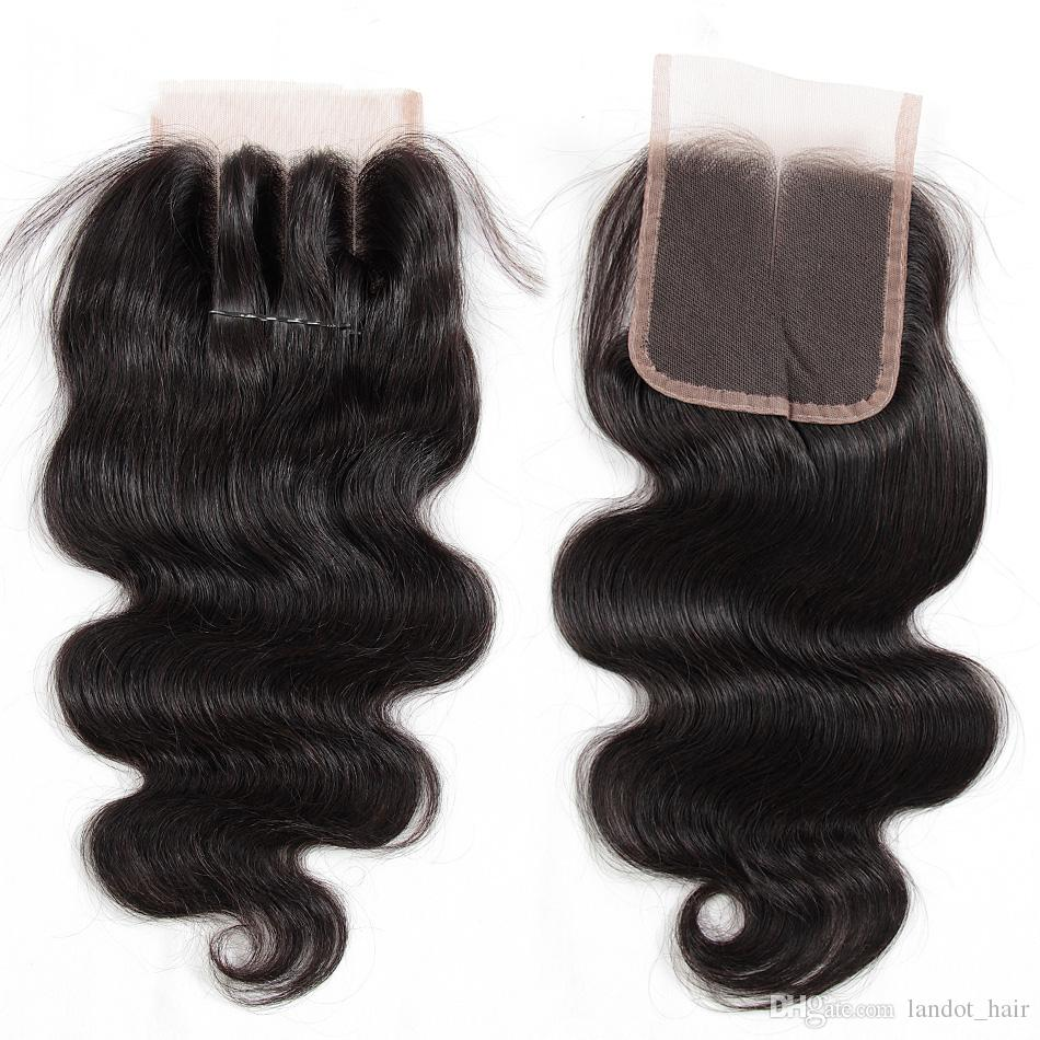 Brazilian Lace Closure 4x4 Size Brazilian Straight Body Wave Loose Deep Kinky Curly Virgin Human Hair Closure Pieces Natural Color Closures