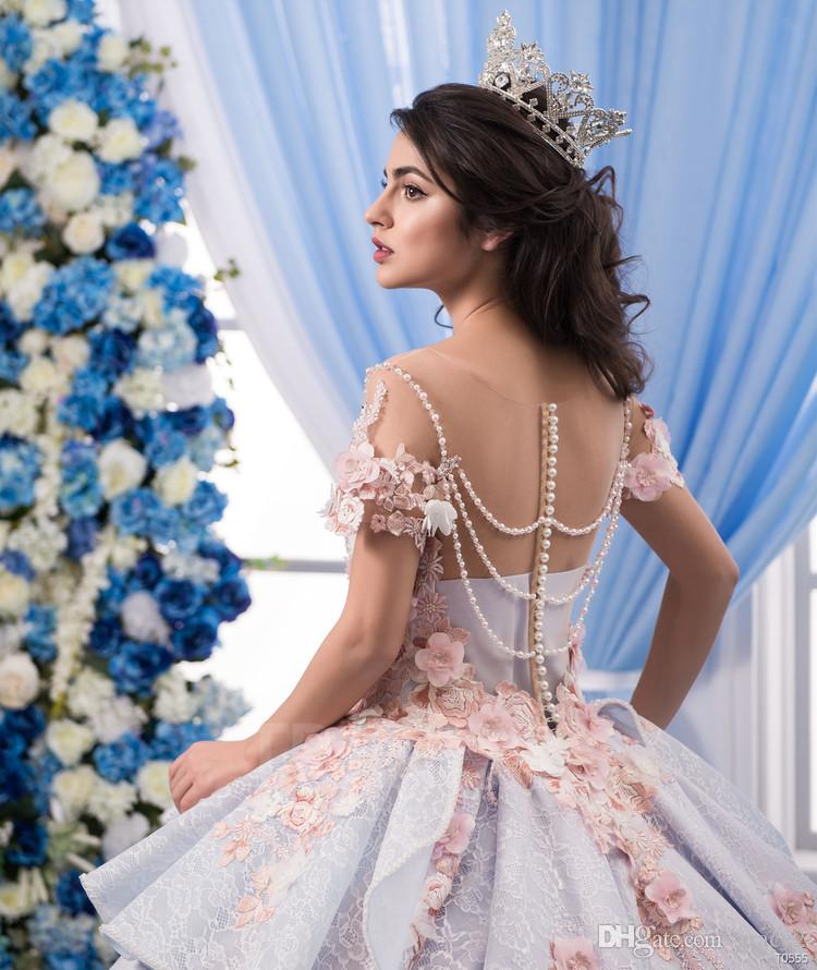 3D Floral Wedding Dresses 2018 Trinity Bride with Short Sleeves and Peplum Ball Gown Colorful robe de mariage with Pearls