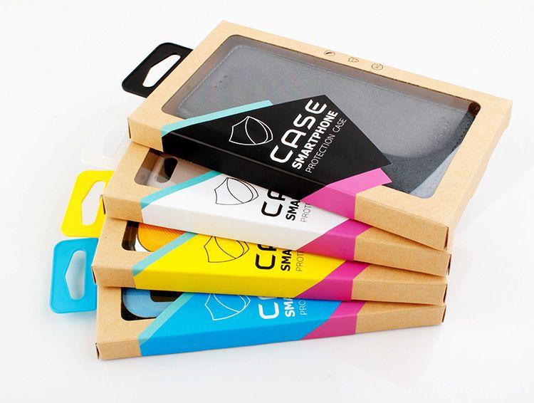 Emballage de boîte de détail de papier brun kraft coloré avec une blister avec support intérieur pour iPhone X Plus Samsung Huawei TPU TPU TPU