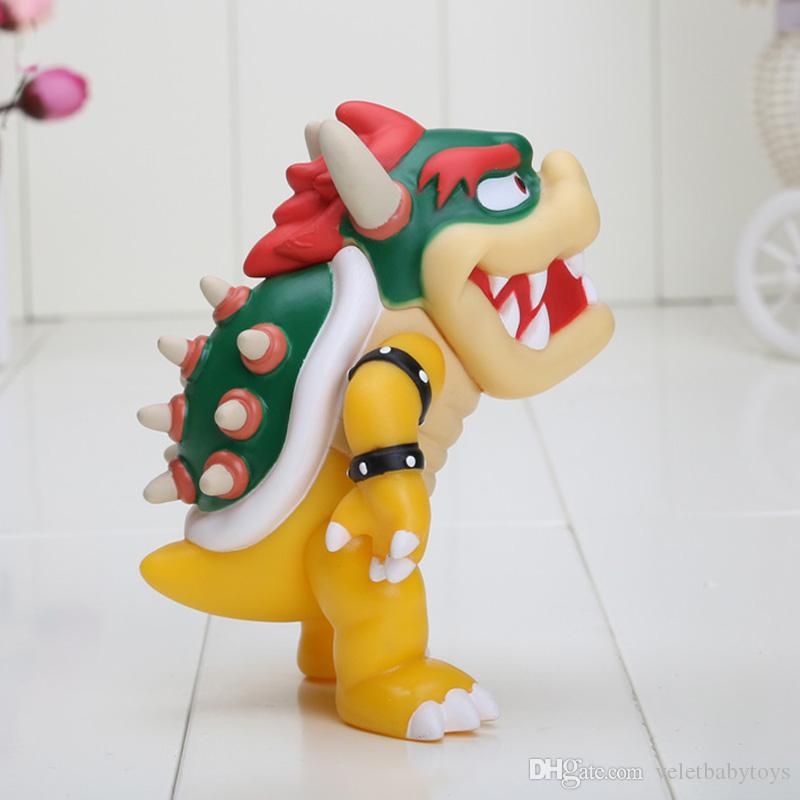 12cm Super Mario Koopa bowser pvc doll with red hat Figure Toy Baby Doll figures
