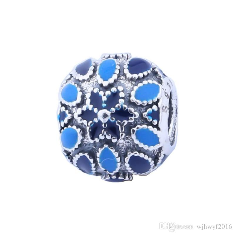 New Blue Enamel Cathedral Rose Floral Charms High Quality Real 925-Sterling-Sliver Flower Diy Bead For European Jewelry Making